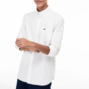 NEW Lacoste White Regular Fit Cotton Oxford Shirt